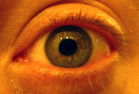 Closeup of a man's eye with hazel colored iris