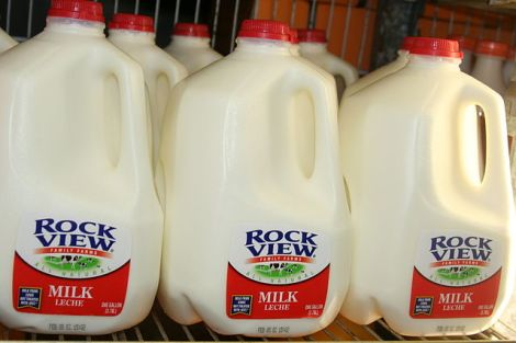 Milk just in a row, by ChildofMidnight on Wikimedia Commons. Used under Creative Commons license. http://commons.wikimedia.org/wiki/File:Milk_jugs_in_a_row.jpg