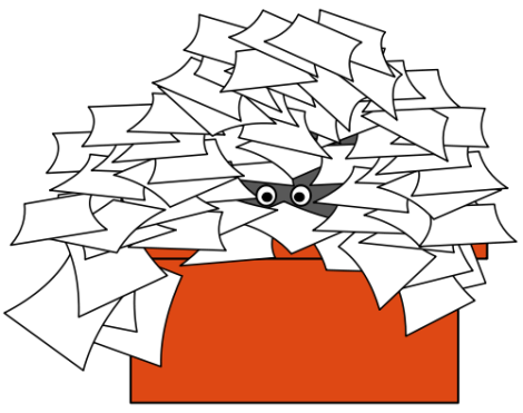 Busy person hidden in a pile of papers