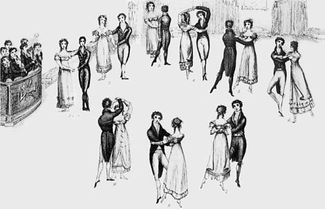 Engraving of image of dancers waltzing. http://en.wikipedia.org/wiki/File:Waltz1816_72.jpg