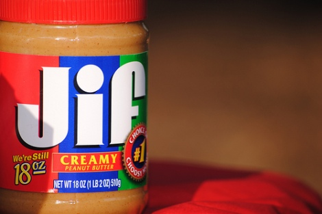 Jif peanut butter by brianc on Flickr. Used under Creative Commons license. http://www.flickr.com/photos/cantoni/6398248857/